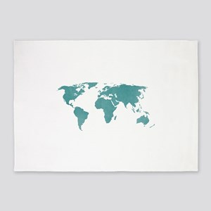 Aquamarine World Map 5'x7'Area Rug