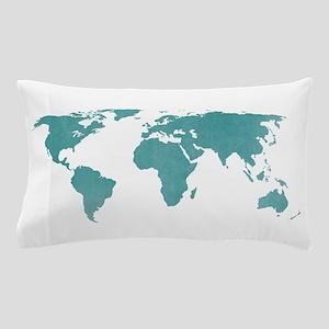 Aquamarine World Map Pillow Case