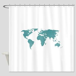 Aquamarine World Map Shower Curtain