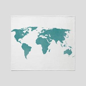 Aquamarine World Map Throw Blanket