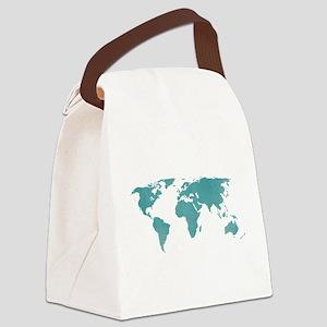 Aquamarine World Map Canvas Lunch Bag