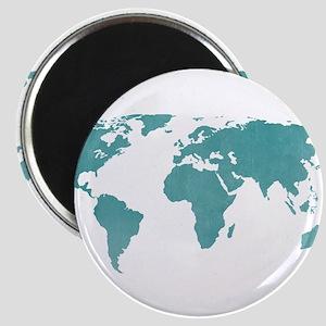 Aquamarine World Map Magnets