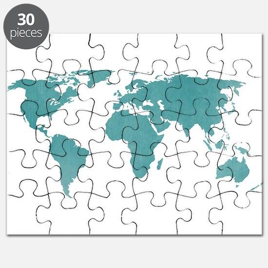 Wanderlust puzzles wanderlust jigsaw puzzle templates puzzles aquamarine world map puzzle sciox Images