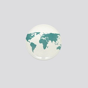 Aquamarine World Map Mini Button
