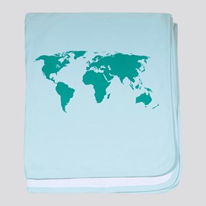 Aquamarine World Map baby blanket