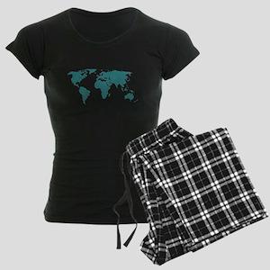 Aquamarine World Map Women's Dark Pajamas