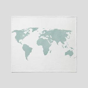 Teal World Map Throw Blanket