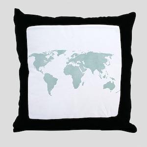 Teal World Map Throw Pillow