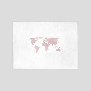 Rose Quartz World map 5'x7'Area Rug