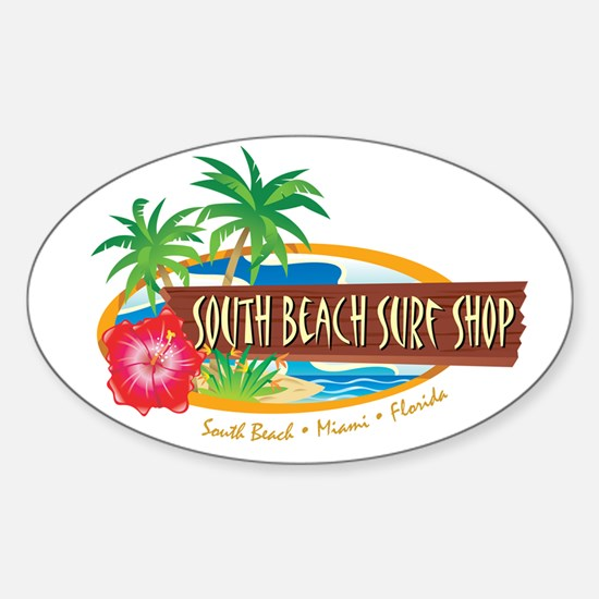 South Beach Surf Shop - Oval Decal