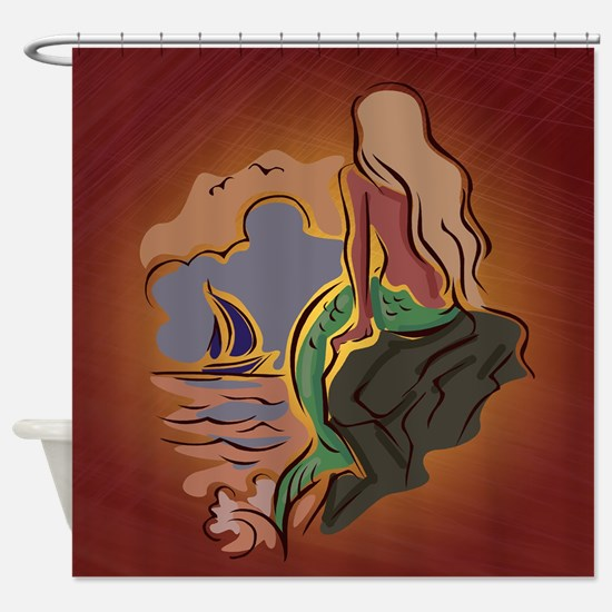 Abstract Mermaid and Sailboat Shower Curtain
