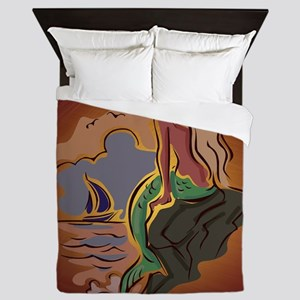 Abstract Mermaid and Sailboat Queen Duvet