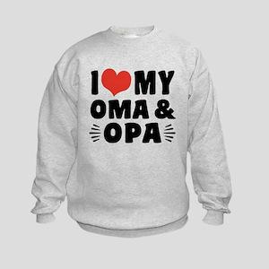 I Love My Oma and Opa Kids Sweatshirt