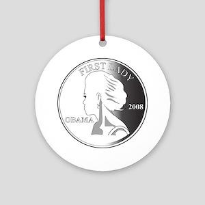 2-Michelle-GRAY1 Round Ornament