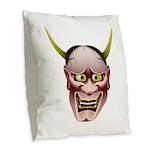 Han-nya Burlap Throw Pillow