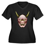 Han-nya Women's Plus Size V-Neck Dark T-Shirt