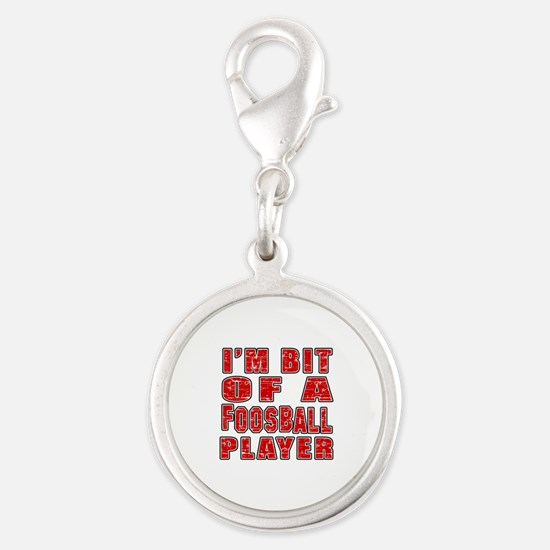 I'm Bit Of Foosball Player Silver Round Charm
