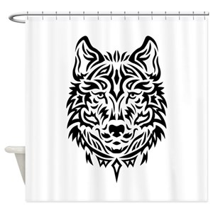 Tribal Wolf Shower Curtains