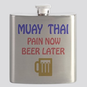 Muay Thai Pain Now Beer Later Flask