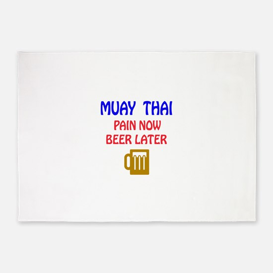 Muay Thai Pain Now Beer Later 5'x7'Area Rug