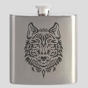wolf tribal tattoo Flask