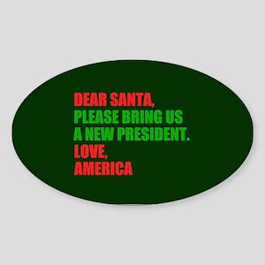 Dear Santa Impeach Trump Sticker (Oval)