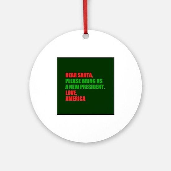 Dear Santa Impeach Trump Round Ornament