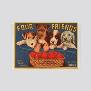 Vintage Four Friends Crate La Rectangle Magnet