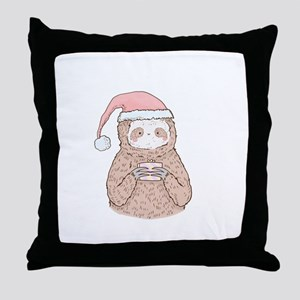 Santa Sloth Hipster Throw Pillow