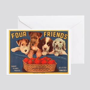 Vintage Four Friends Crate La Greeting Card