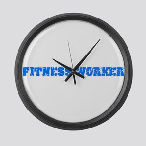 Fitness Worker Blue Bold Design Large Wall Clock