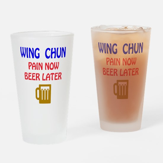Wing Chun Pain Now Beer Later Drinking Glass