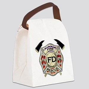Maltese Cross with American Flag Canvas Lunch Bag