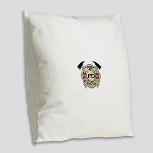 Maltese Cross with American Fl Burlap Throw Pillow