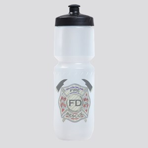 Maltese Cross with American Flag bac Sports Bottle