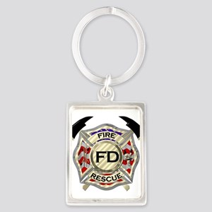 Maltese Cross with American Flag backgro Keychains