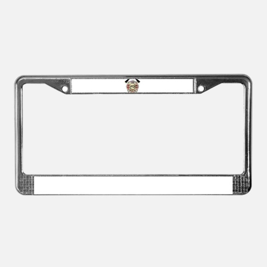Maltese Cross with American Fl License Plate Frame
