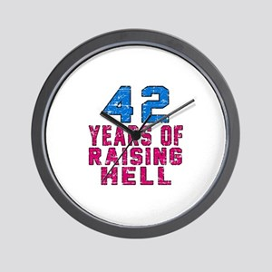 42 Years Of Raising Hell Birthday Wall Clock