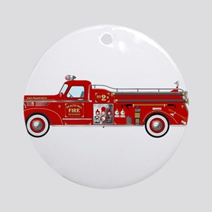Fire Truck - Vintage fire truck. Round Ornament