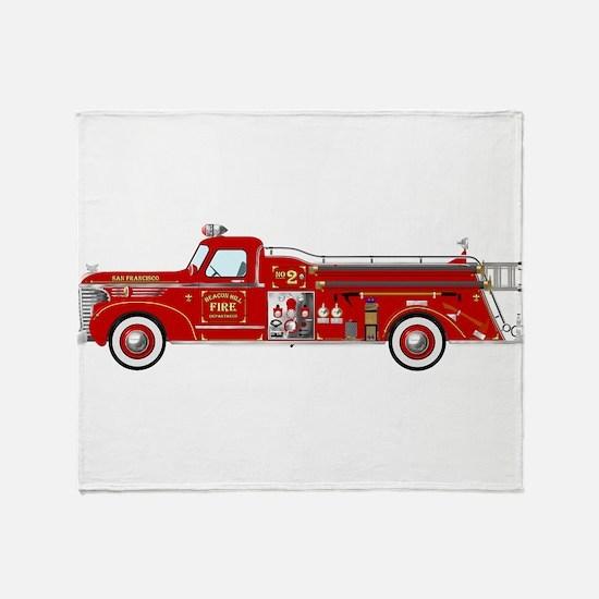Fire Truck - Vintage fire truck. Throw Blanket