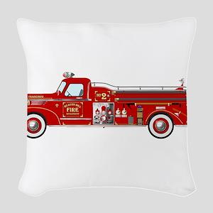 Fire Truck - Vintage fire truc Woven Throw Pillow