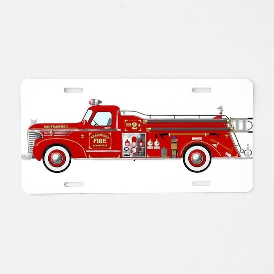 Fire Truck - Vintage fire t Aluminum License Plate