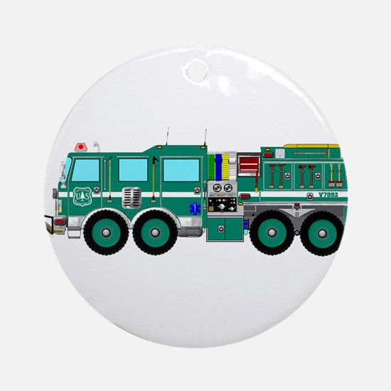 Fire Truck - Concept wild land gree Round Ornament