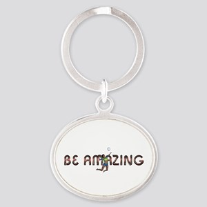Be Amazing Volleyball Oval Keychain