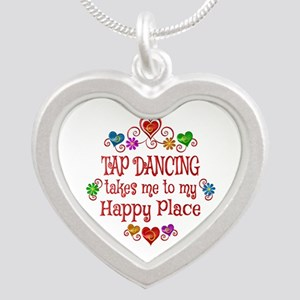 Tap Dancing Happy Place Silver Heart Necklace