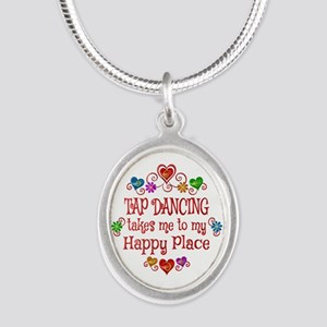 Tap Dancing Happy Place Silver Oval Necklace