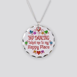 Tap Dancing Happy Place Necklace Circle Charm