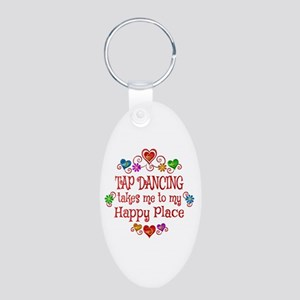 Tap Dancing Happy Place Aluminum Oval Keychain