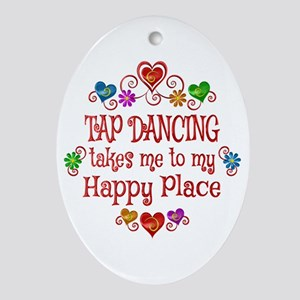 Tap Dancing Happy Place Oval Ornament
