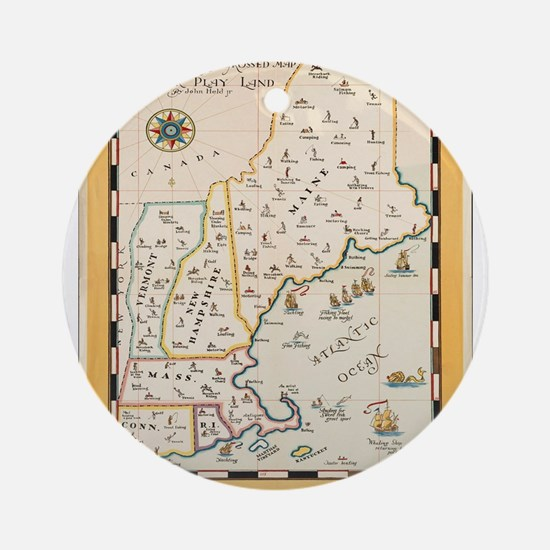 Vintage poster - New England Round Ornament